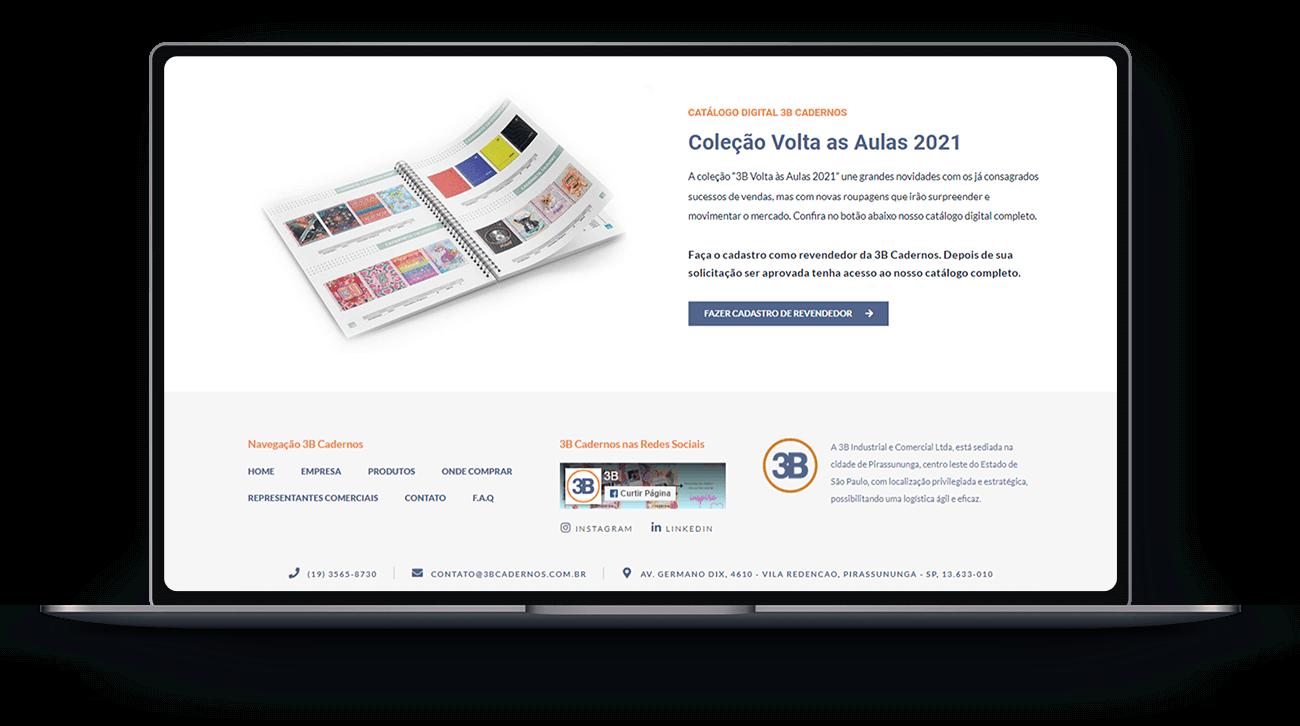 Desenvolvimento do Site 3B Cadernos Lubna Produção Digital