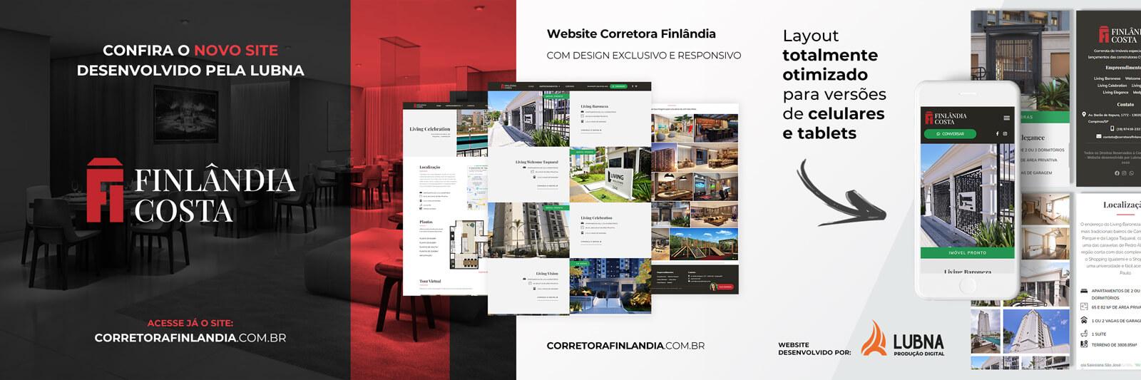 Site Corretora Finlandia por Lubna Produção Digital