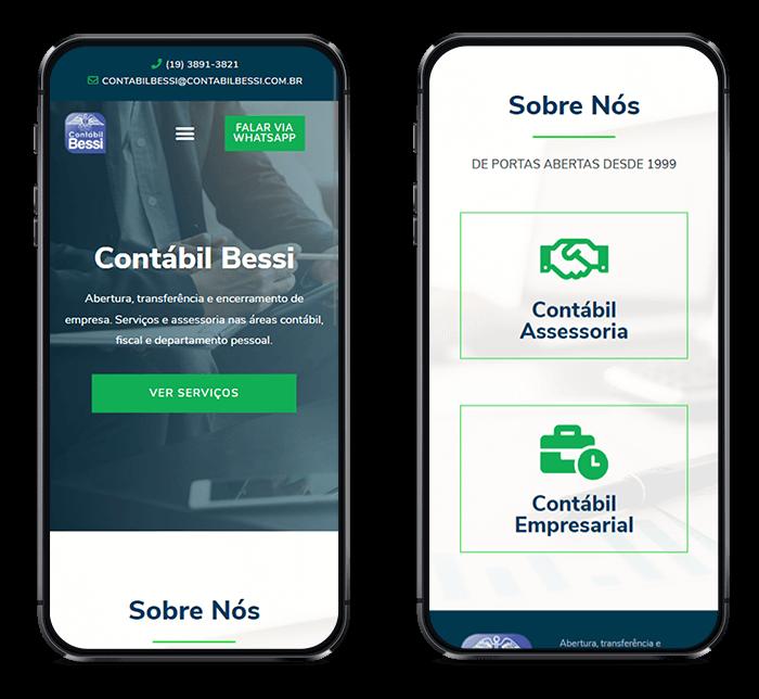 Site Contabil Bessi no celular por Lubna Produção Digital