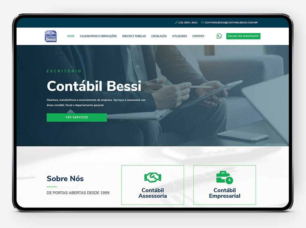 Site Contabil Bessi no tablet por Lubna Produção Digital