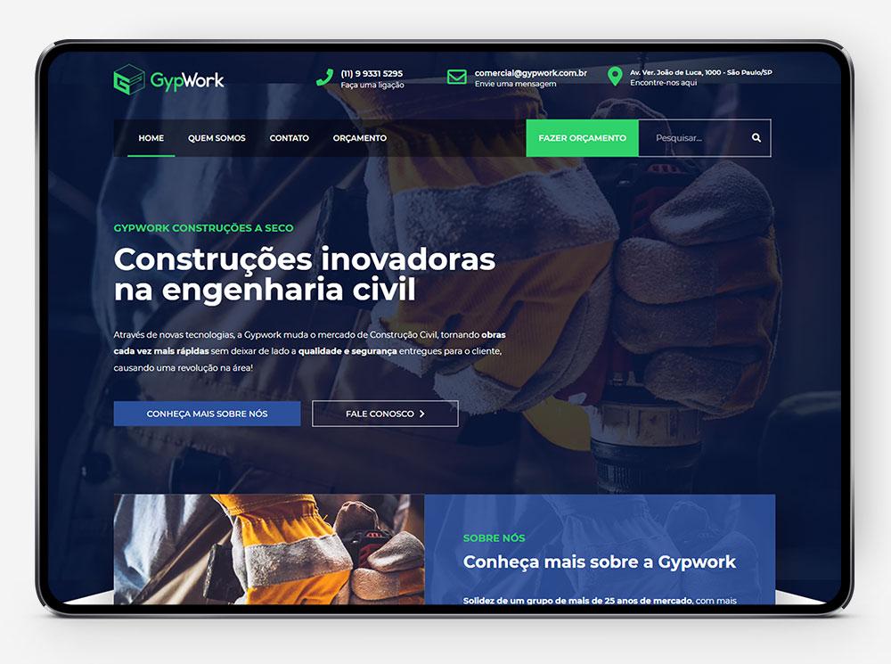 Site Gypwork no tablet por Lubna Produção Digital