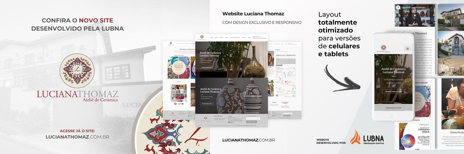 Banner do Site da Luciana Thomaz por Lubna Produção Digital