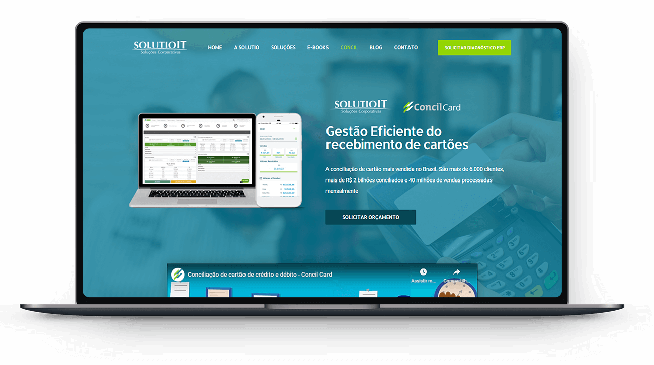 Site Solutio IT no Notebook por Lubna Produção Digital