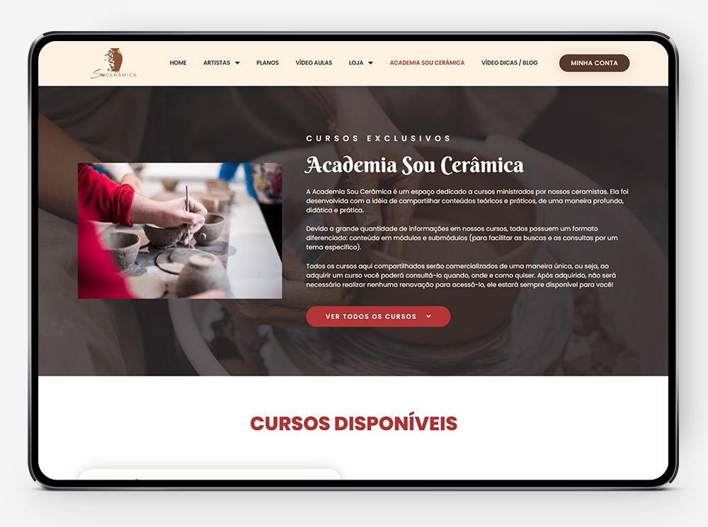 Plataforma Sou Cerâmica por Lubna Produção Digital